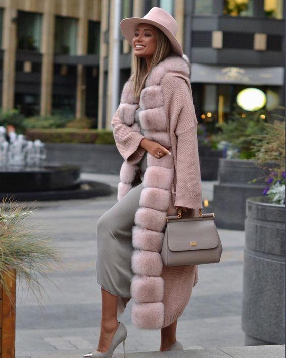 пальто 2020 с меховой отделкой фото