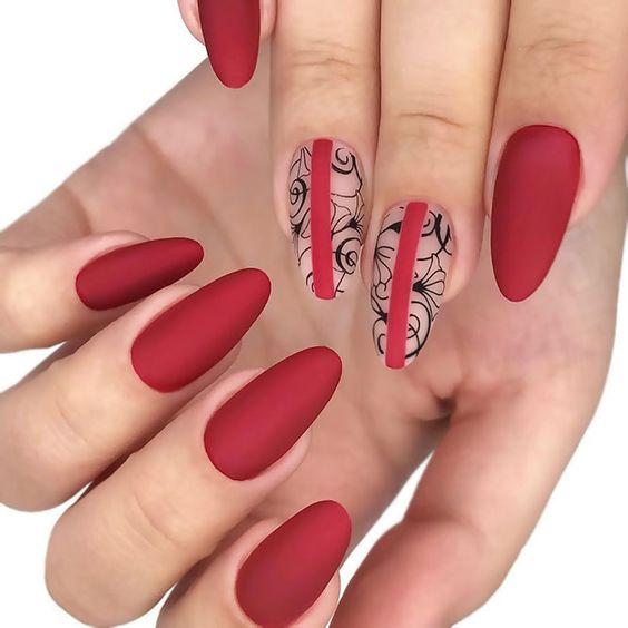 модные тенденции в маникюре 2019-2020 красный дизайн ногтей