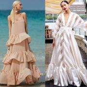 модные длинные платья 2019-2020 с воланами