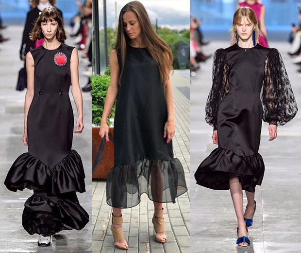 модные платья с воланами черного цвета