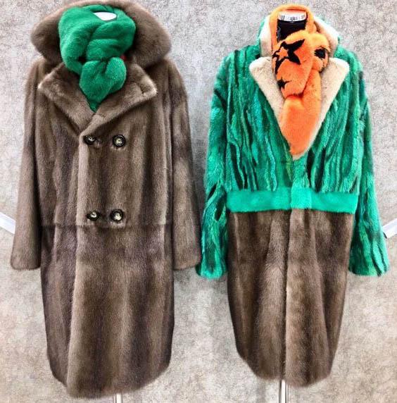 комбинированные меховые изделия в виде пальто 2019-2020