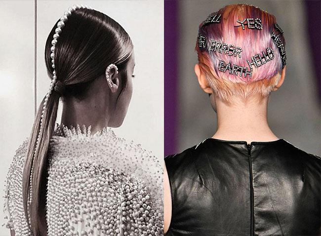 модные заколки 2020 стильная прическа фото