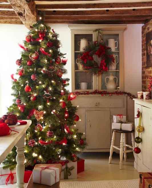 новогодняя елка 2020 декор красными шарами