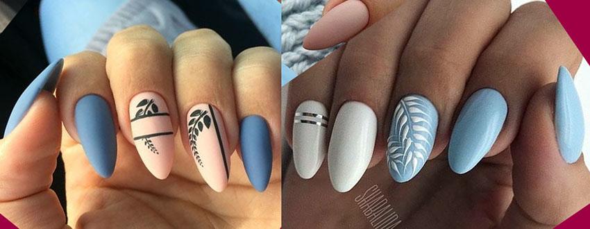 голубой дизайн ногтей 2021 с листья и ветками