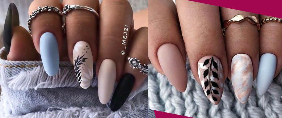 нюд дизайн ногтей 2021 с листья и ветками