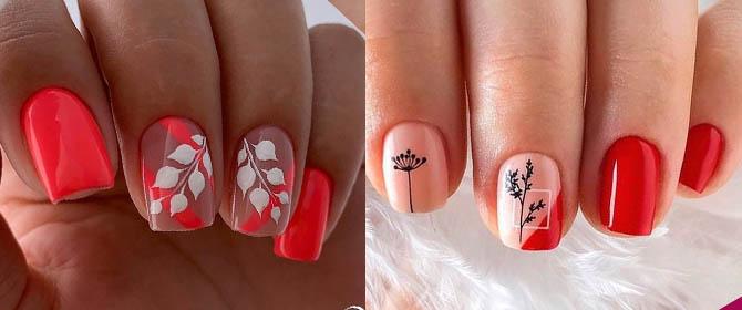 коралловый дизайн ногтей 2021 с листья и ветками