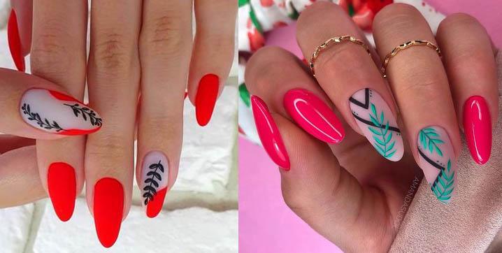 яркий дизайн ногтей 2021 с листья и ветками