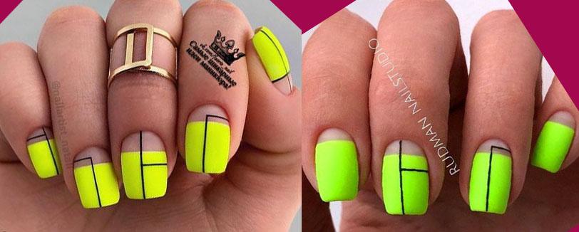 салатовый дизайн ногтей 2021 с листья и ветками