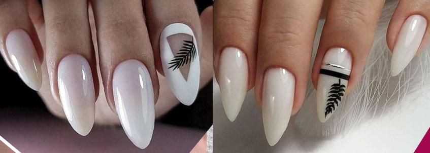нюдовый дизайн ногтей 2021 с листья и ветками
