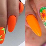 оранжевый дизайн ногтей 2021 с листья и ветками