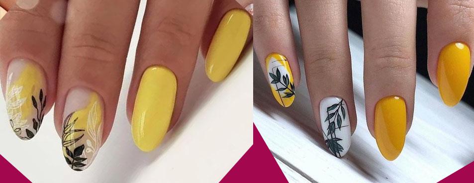 желтый дизайн ногтей 2021 с листьями и ветками