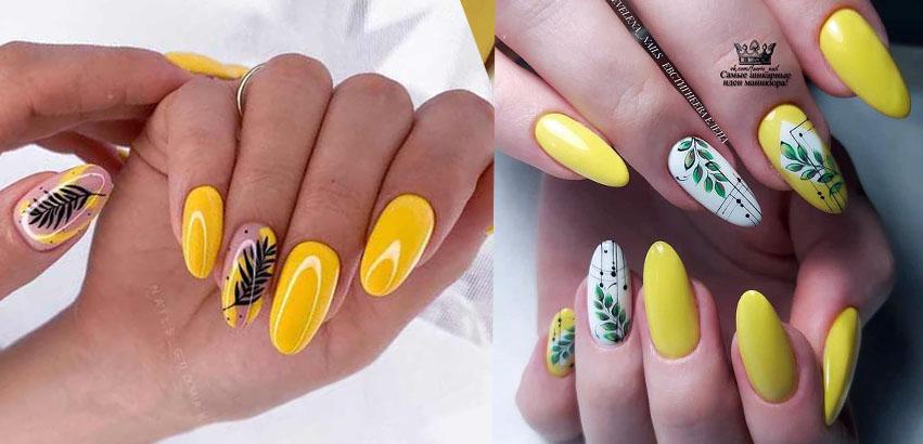 желтый дизайн ногтей 2021 с листья и ветками